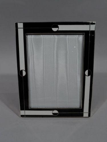 Italian Retro Deco Black and White Enamel Picture Frame