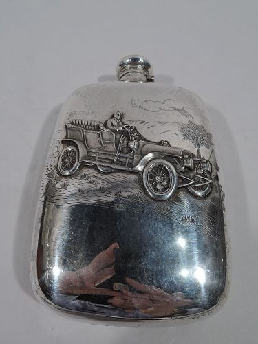 Antique American Sterling Silver Motoring Days Flask by Wallace