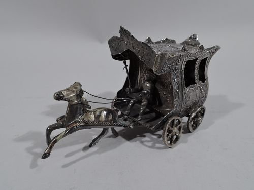 Antique German Rococo Silver Miniature Horse-Drawn Carriage