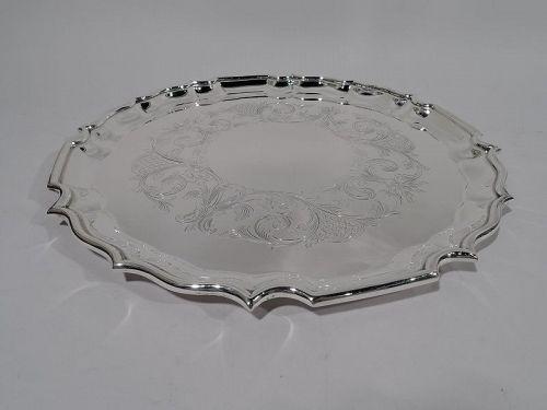 Birks Sterling Silver Tray with Georgian Piecrust Rim