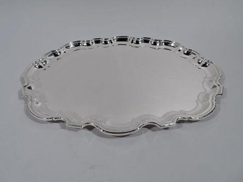 Tiffany Sterling Silver Serving Tray with Georgian Piecrust Rim