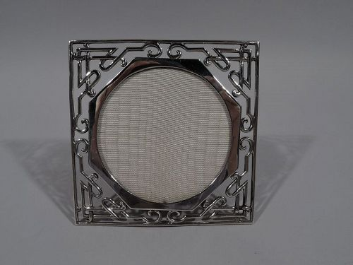 Antique English Aesthetic Sterling silver Fretwork Picture Frame
