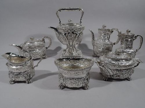 Finest Quality Tiffany Repousse Sterling Silver Coffee & Tea Set