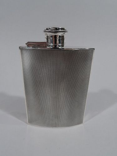 Smart English Art Deco Sterling Silver Hip Flask 1933