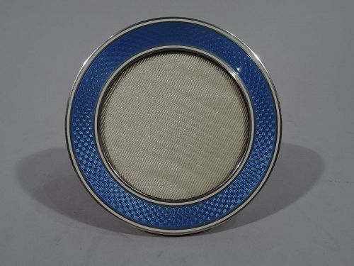 Small and Stylish Art Deco Silver and Enamel Picture Frame C 1925