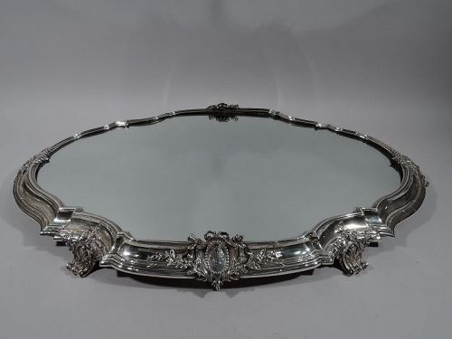 Large Antique French Rococo Revival Silver Centerpiece Plateau