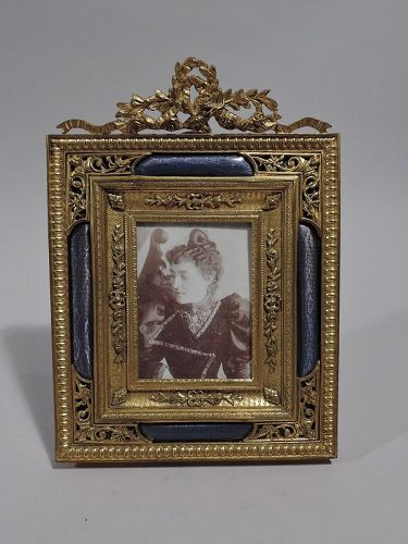 Antique French Rococo Revival Gilt Bronze & Lilac Enamel Picture Frame