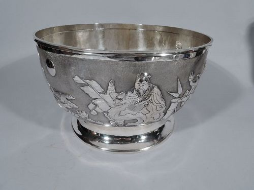 Antique Chinese Silver Bamboo & Bird Centerpiece Bowl