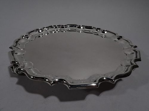 Antique Scottish Sterling Silver Salver with Georgian Piecrust Rim