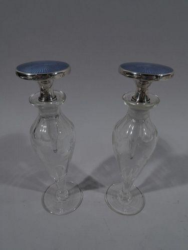 Pair of Cartier Art Deco Sterling Silver, Enamel & Crystal Perfumes