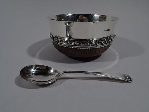 Antique Celtic Revival Sterling Silver & Wood Mazer Bowl & Spoon
