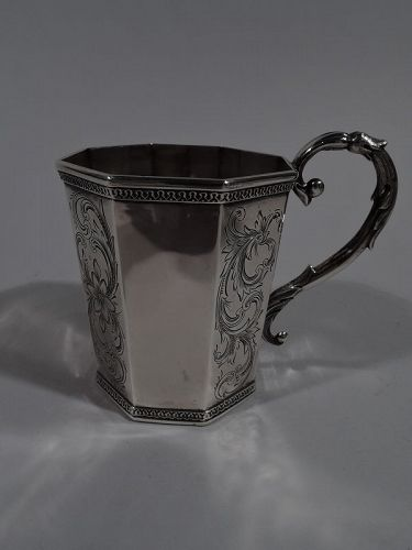 Antique American Classical Coin Silver Baby Cup by Tifft & Whiting