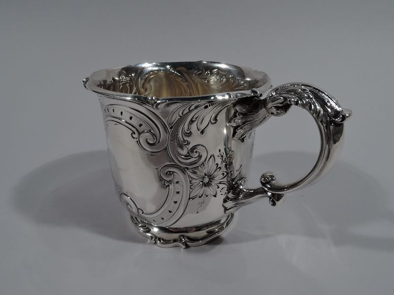 Large and Fancy Antique Sterling Silver Baby Cup by Gorham