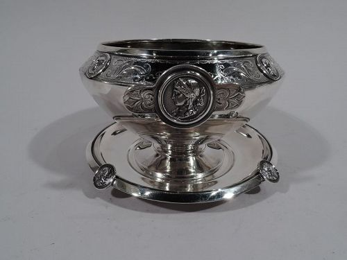 Antique Gorham Medallion Coin Silver Sauce Bowl on Stand