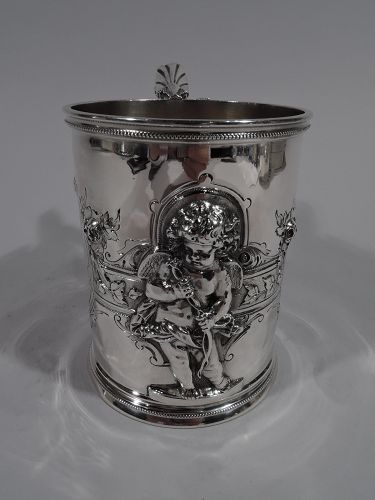 Large American Classical Coin Silver Baby Cup by Wood & Hughes