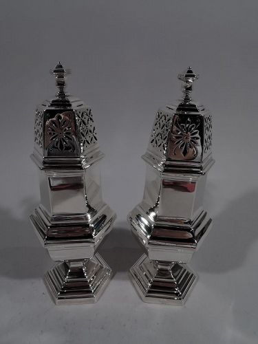 Pair of Large French Modern Classical Silver Sugar Casters by Tetard