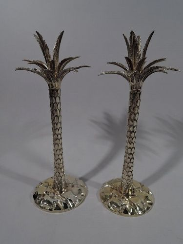 Pair of Fabulous Tiffany Gilt Sterling Silver Palm Tree Candlesticks