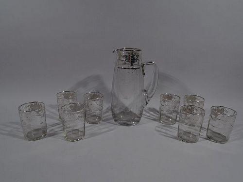 American Edwardian Silver Overlay Drinks Set with Pitcher & Glasses