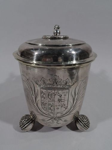 Fine Quality Antique Danish Baroque Silver Tankard 1688