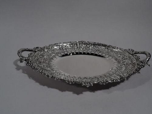 Fancy Antique Tiffany Repousse Sterling Silver Serving Platter C 1875