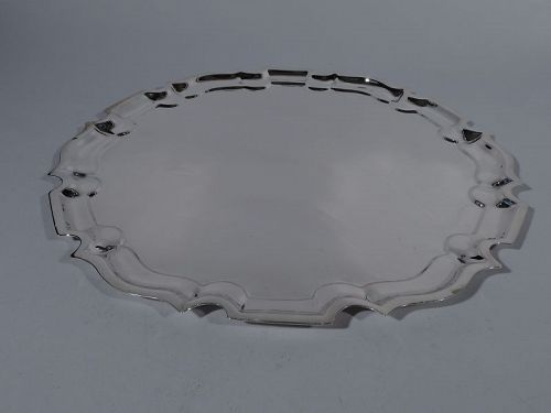 Large Cartier Sterling Silver Serving Tray with Georgian Piecrust Rim