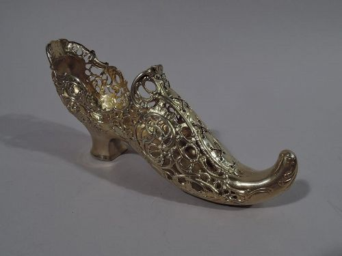 Antique German Silver Gilt Lady�s Shoe with Elf Toe