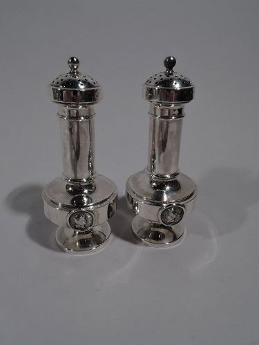 Pair of New York Sterling Silver Medallion Salt & Pepper Shakers