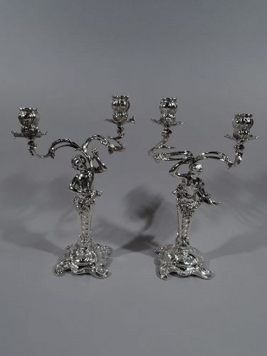Pair of German Art Nouveau Rococo 2-Light Silver Candelabra