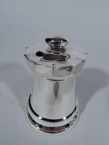 Antique Tiffany Sterling Silver Chess Rook Castle Tower Pepper Grinder