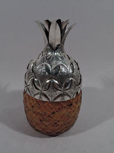 Buccellati Sterling Silver and Murano Glass Pineapple Jam Jar