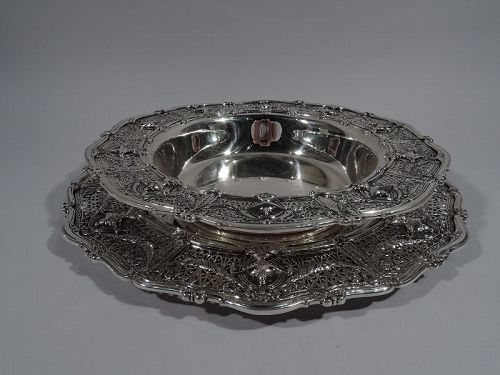 Antique Shreve Adam Sterling Silver Centerpiece Bowl on Stand