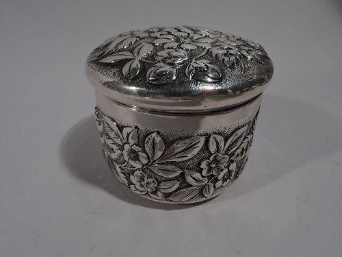 Pretty Antique JE Caldwell Repousse Sterling Silver Powder Box