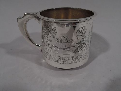 Gorham Edwardian Sterling Silver Baby Cup with Moral Message