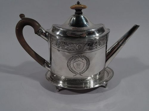 Peter & Ann Bateman Neoclassical Sterling Silver Teapot on Stand 1795