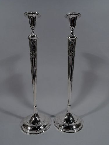 Very Tall American Edwardian Regency Sterling Silver Candlesticks