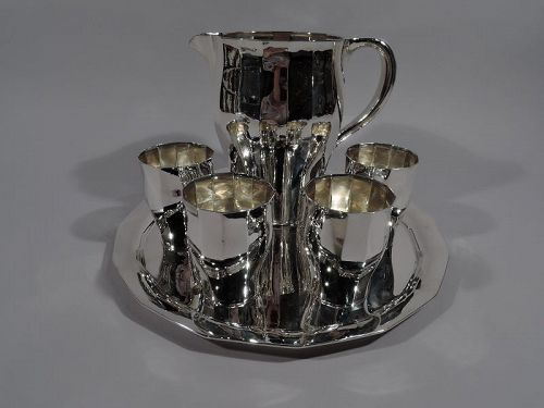 Tiffany Art Deco Hand-Hammered Sterling Silver Drinks Set on Tray