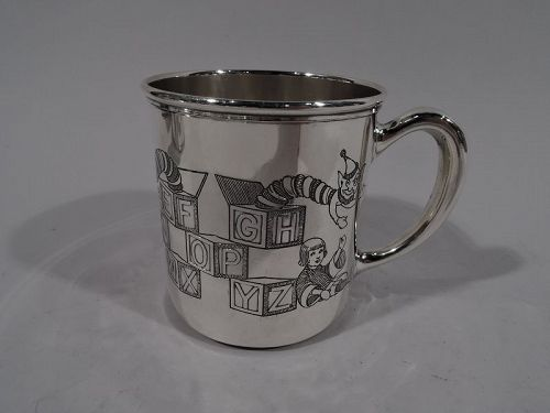 Antique American Art Deco ABC Sterling Silver Baby Cup