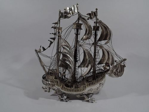 Ship Ahoy! Antique Sterling Silver 3-Mast Galleon Nef