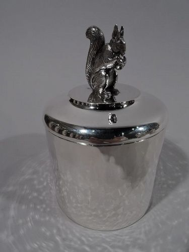 Sweet Arts & Crafts Silver Box with Nut-Nibbling Squirrel