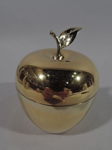 A Golden Apple � Tiffany Modern Gilt Sterling Silver Figural Fruit Box
