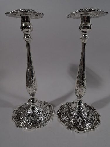 Pair of Antique Shreve Adam Sterling Silver Candlesticks
