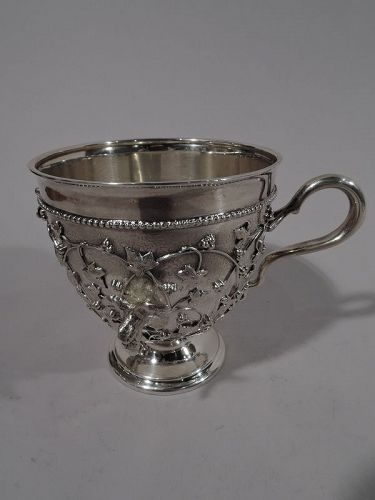Antique Tiffany Sterling Silver Baby Cup in Fabulous Bird�s Nest