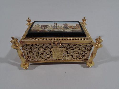 Antique Grand Tour Jewelry Casket with Roman Forum Micromosaic