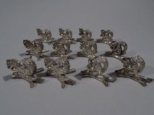 Set of 12 Tiffany Sterling Silver Squirrel Place Card Holders