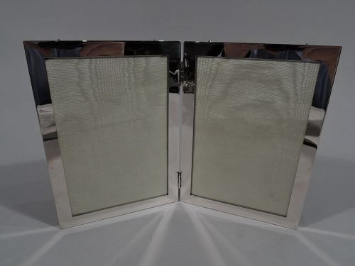 American Modern Sterling Silver Double Diptych Picture Frame