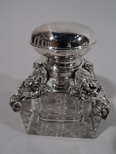 American Art Nouveau Classical Sterling Silver Inkwell by Kerr