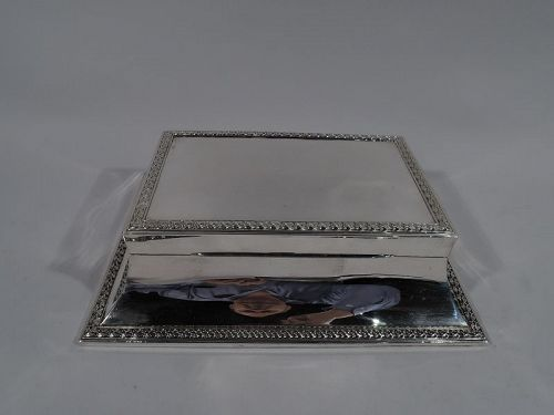 Large Antique English Edwardian Classical Sterling Silver Jewelry Box