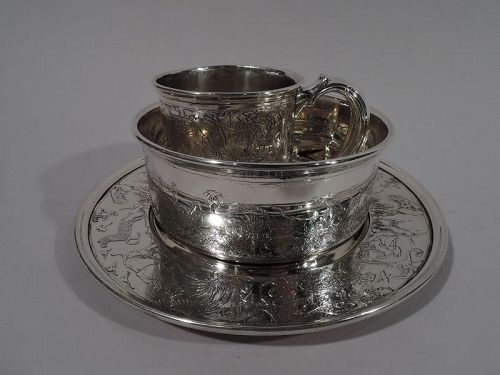 Antique Reed & Barton Art Deco Safari Sterling Silver 3-Piece Baby Set