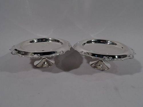 Pair of Tiffany Modern Classical Sterling Silver Shell Compotes