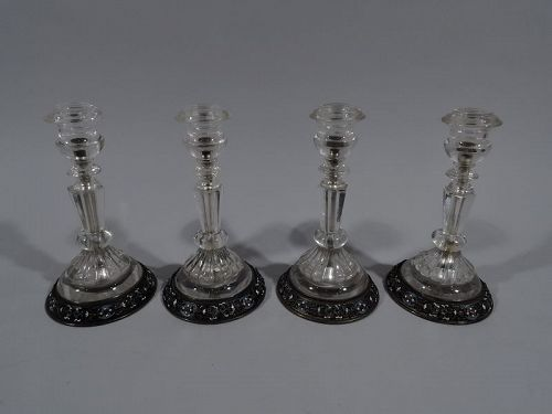 Austrian Rock Crystal & Enameled Silver Candlesticks by Ratzersdorfer